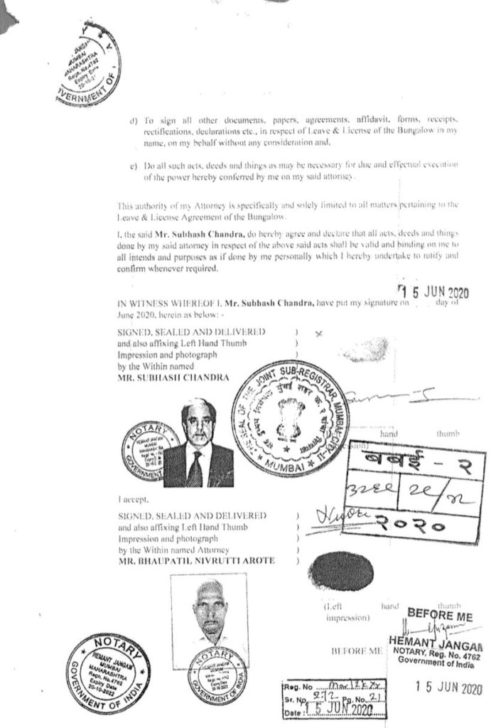 Copy of the Specific Power of Attorney, constituted by Subhash Chandra