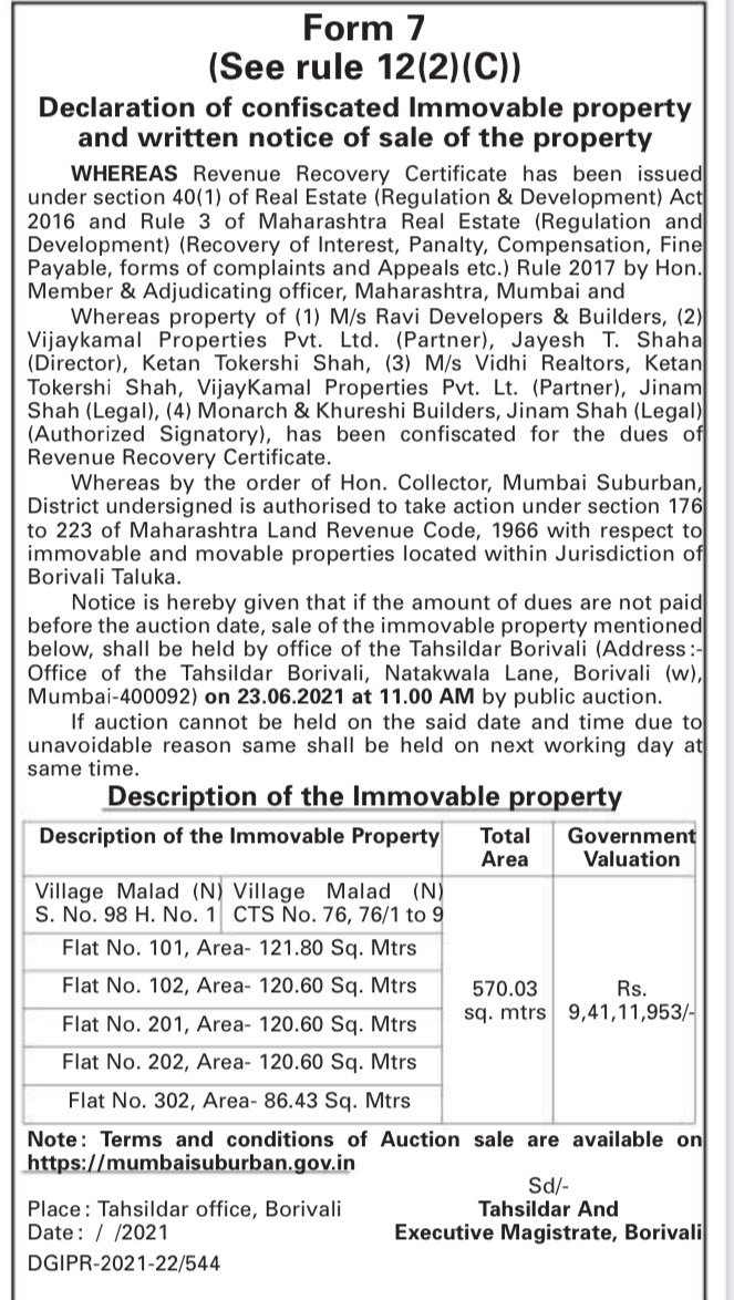 The Notice of Sale of Property Issued by Tehsildar, Borivali.